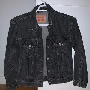 Levi's black denim jacket with stud detailing